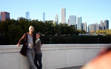 .... Carrie and I, posing gracefully in Chicago.