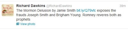 A shout out by Richard Dawkins for my article on Mormonism.