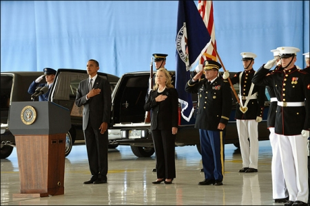 President Obama and Secretary of State Clinton, at ceremony for the victims of the Benghazi attack. Source: Wikimedia Commons. Author: By U.S. Department of State from United States [Public domain].