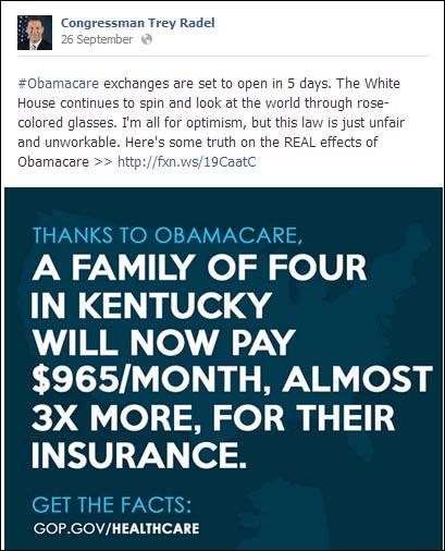 Trey Radel misleading Kentucky Obamacare Stats