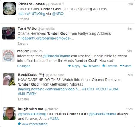 gettysburg address, obama snub gettysburg address, under god gettysburg address