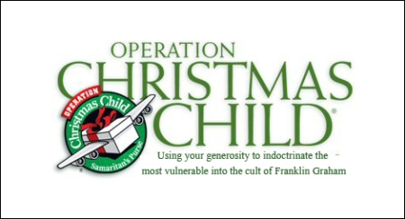 operation christmas child, atheists north carolina school, samaritan's purse, franklin graham, atheism,