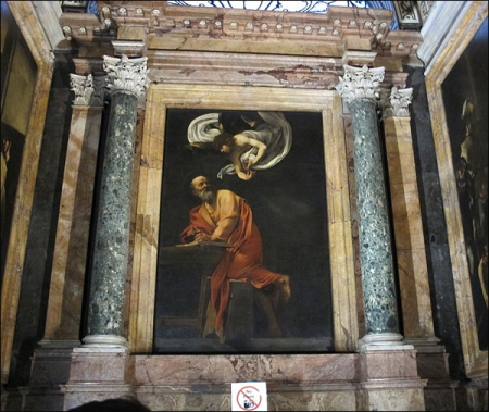 Caravaggio's 'The Inspiration of St Matthew' - the altarpiece for the Church of San Luigi dei Francesi in Rome. Source: Wikimedia Commons. Author: I, Sailko [GFDL (http://www.gnu.org/copyleft/fdl.html)