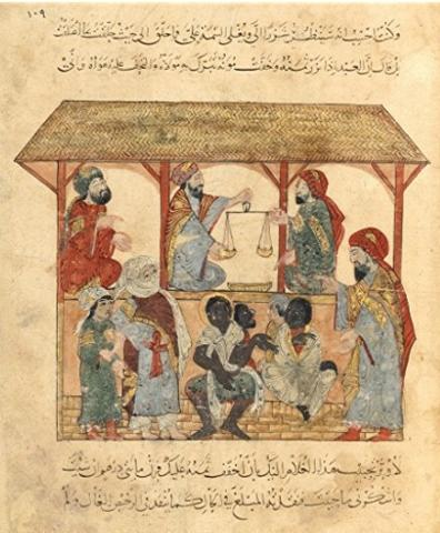 Slave market in 13th century Yemen. Credit: BnF (National Library of France).