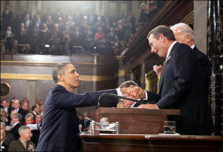 President Obama and Speaker Boehner shake hands at the State of the Union. Photo Credit: By Pete Souza (Executive Office of the President of the United States)