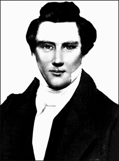 Believed to be a  daguerreotype of Joseph Smith, by Lucian Foster in 1843.