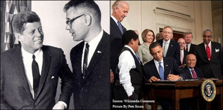 Rep. John Dingell with President Kennedy, and seated next to President Obama for the signing of the ACA.