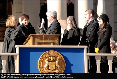 Gov. Rick Snyder's inauguration, Michigan Capitol, Lansing, 2011.